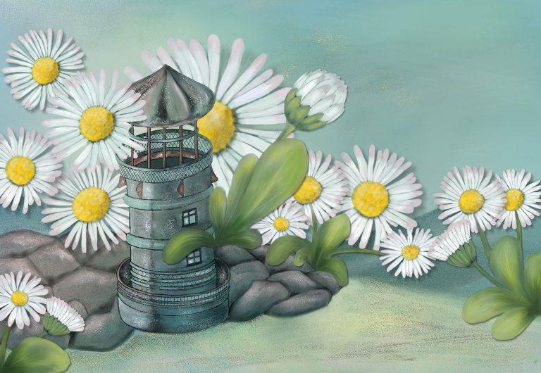 Leuchtturm, gemalt mit Gänseblümchen, Angela Slama