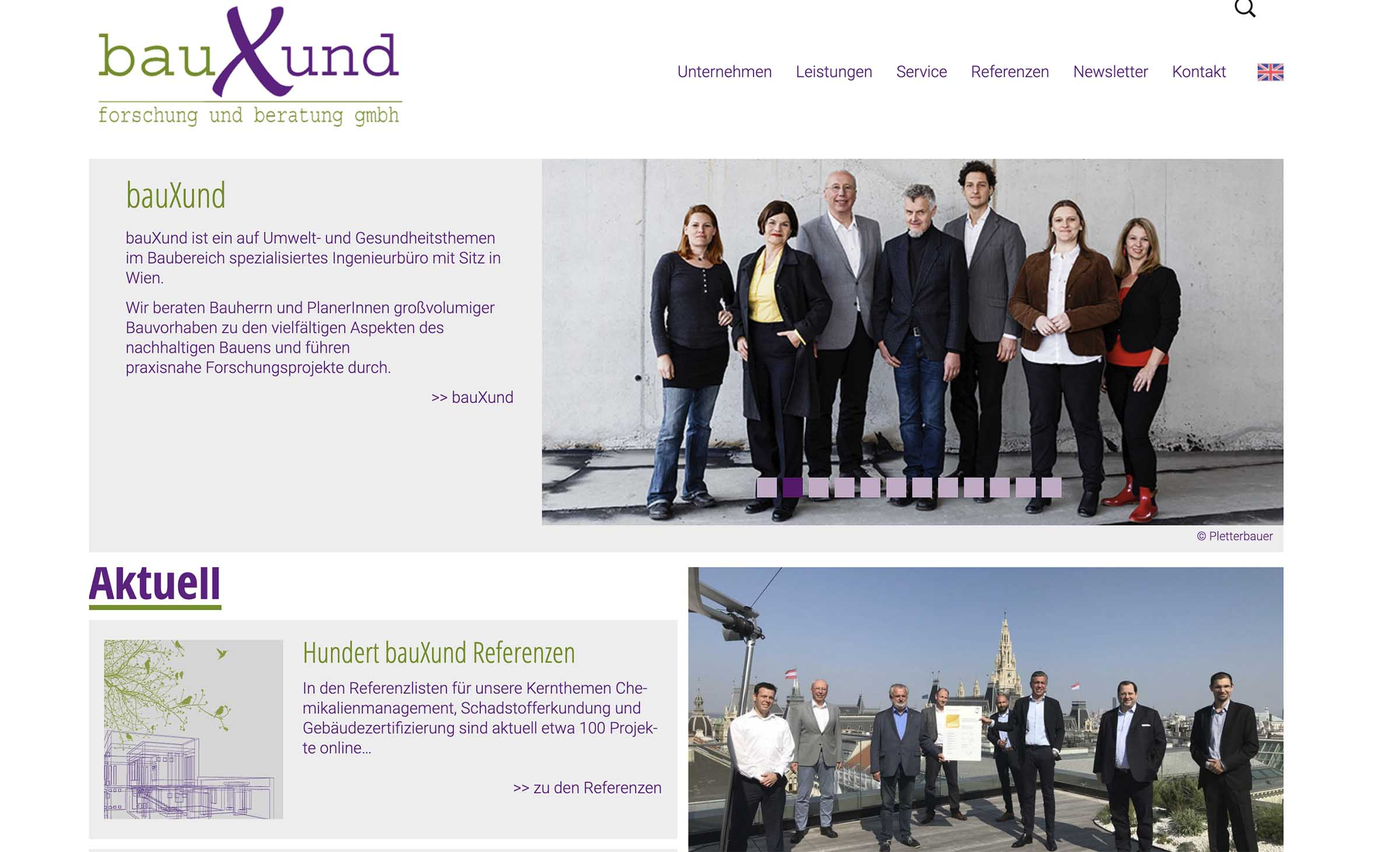 Webseite von bauXund